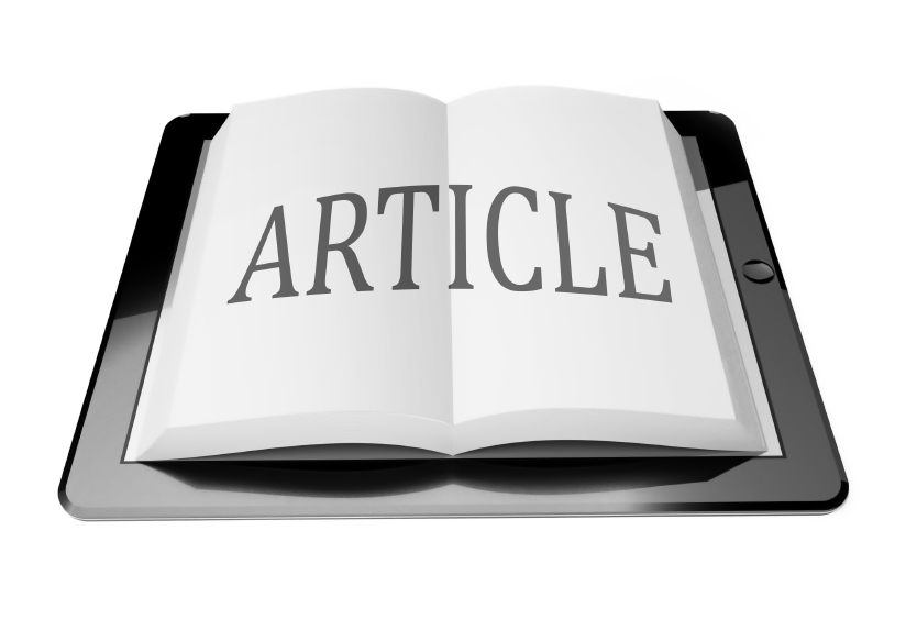 Article with ebook in digital tablet computer